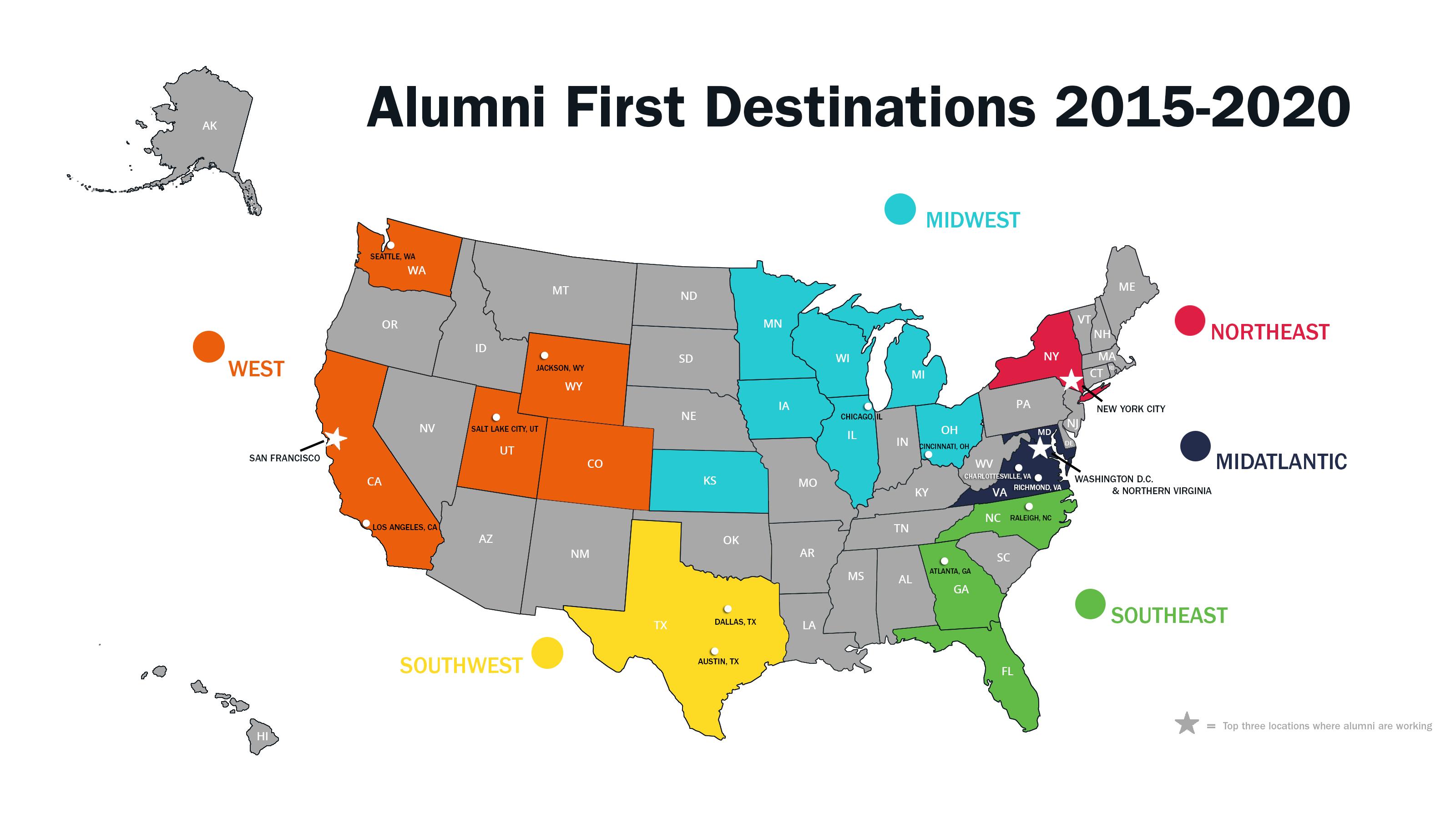Alumni destinations map