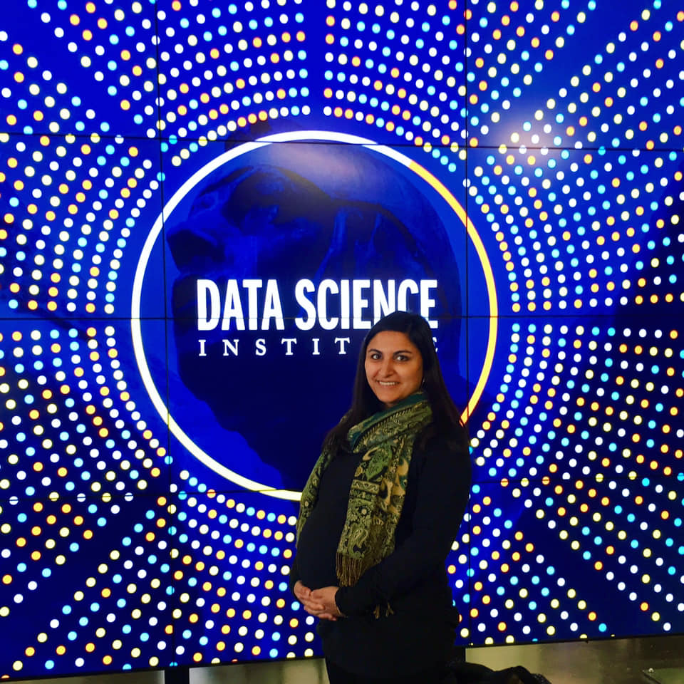 Myra Blanchard on her first day at the School of Data Science, then the Data Science Institute in December of 2018. Blanchard's son, Beau, was born just a few weeks after she started.