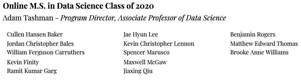 December M.S. in Data Science Class of 2020