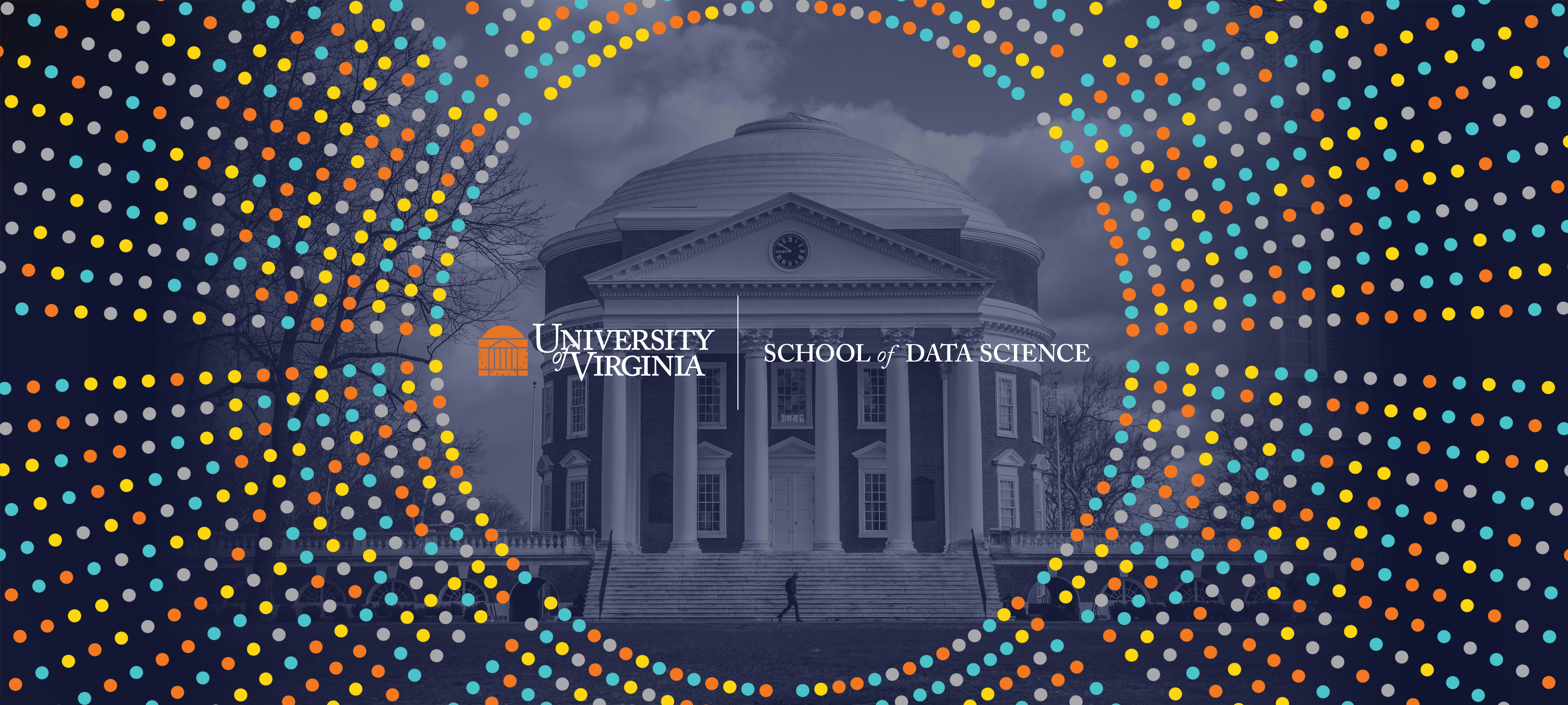 UVA Data Science logo surrounded by a multicolored, circular data burst with the Rotunda building in the back ground with a blue tone treatment.
