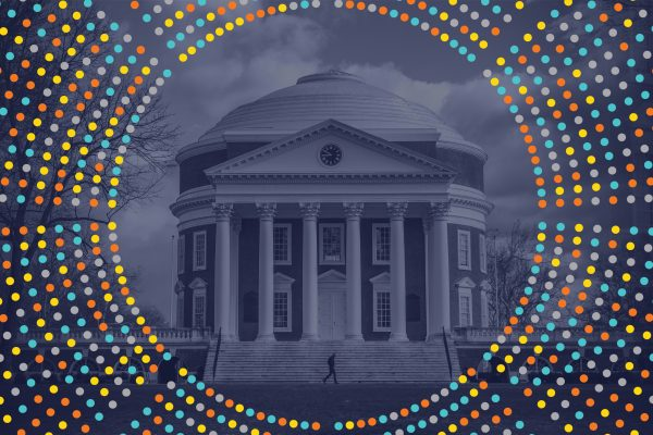 Image of the UVA Rotunda under a blue filter surround by a multicolored data burst.
