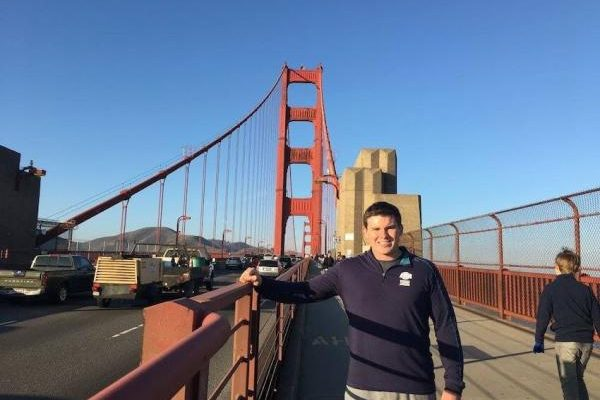 Andrew Hogue, MSDS Student, at the Golden Gate Bridge