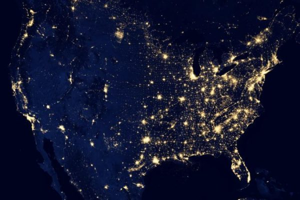 Image of the U.S. with lights