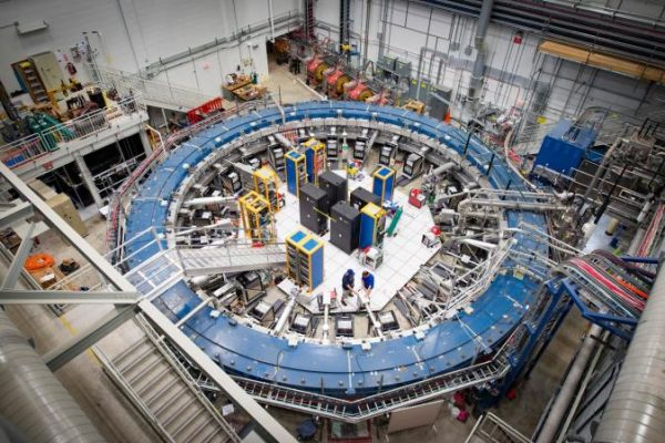 The Muon g-2 ring, at the Fermi National Accelerator Laboratory in Batavia, Ill., operates at minus 450 degrees Fahrenheit and studies the wobble of muons as they travel through the magnetic field.Credit...Reidar Hahn/Fermilab, via U.S. Department of Energy