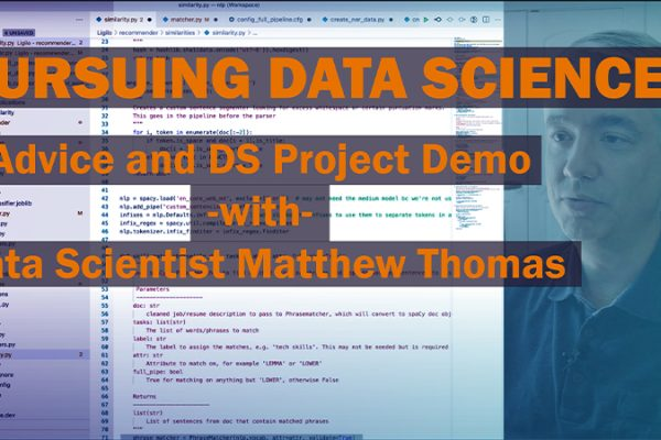 Alumni Matt Thomas at computer. Text reads: Pursuing Data Science: Advice and DS Project Demo with Data Scientist Matthew Thomas