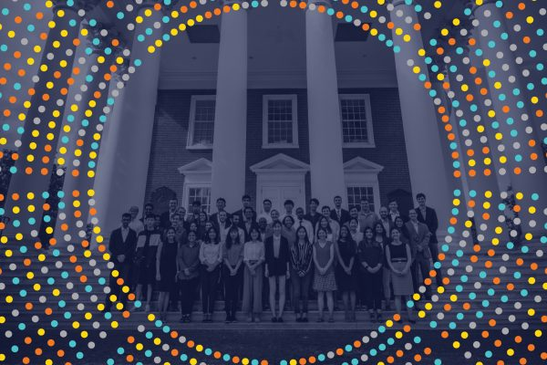 Image of the class of 2020 Cohort standing in front of the Rotunda with a blue tone treatment overlay, surrounded by a data burst